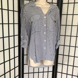 Dalia Blue & White Striped Button Down Blouse
